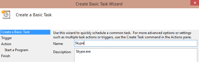 Create Basic Task Wizard